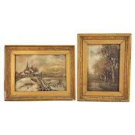 Vintage Set of Two Framed Landscape Oil on Canvas Paintings