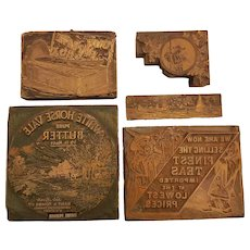 Lot of 5 Vintage Metal Advertising Stamps