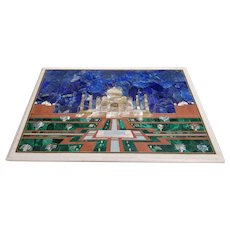 Stunning Semi Precious Inlaid Panel of Taj Mahal with custom made Wooden Legs