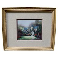Multiple Fine Print of Cottages by Thomas Kinkade in a Custom Frame - COA