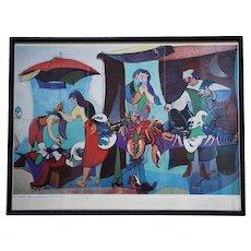 "Jean Helion multiple Offset Fine Print titled ""Grand marche aux homards"""