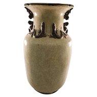 Pair of Vintage Chinese Dragon Crackleware Vases - Inscribed