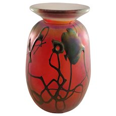 Art Glass Red Vase - Signed - 1977
