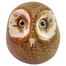 Small Owl Figurine - Pigeon Forge Pottery Tennessee - Signed