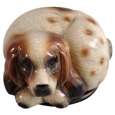 Japanese Porcelain Dog Figure Container with Lid - Basset Hound