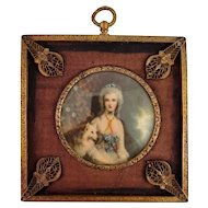 Antique Miniature Portrait Painting In A Metallic Frame