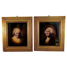 Vintage Pair of Framed Reverse Portraits of Martha And George Washington