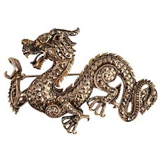 Sterling Silver Inlaid Dragon Brooch Pin - Inscribed