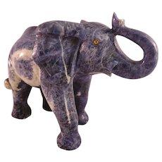 Hand Carved Lapis Lazuli Large Elephant Figure