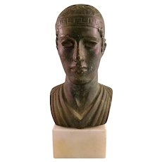 Small Vintage Bronze Bust on a Marble Base