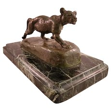 Isodore Bonheur Small Mountain Lion Bronze Sculpture On Black Marble - Inscribed