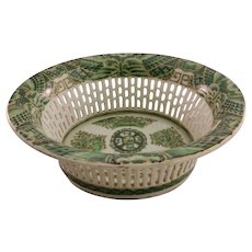 Vintage Chinese Export Green Porcelain Bowl - Basket Design - Stamped