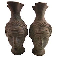 Pair of Small Vintage Bronze Face Ewers