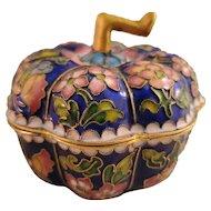Cloisonne Enameled Pumpkin Trinket Box