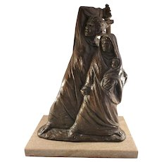Bronze Statue Exodus on Rose Marble Base by Laszlo Ispanky  (68 of 100)