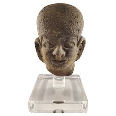 Archaic Style Bust Pottery on Clear acrylic display base - Mesoamercian