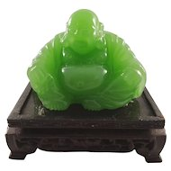 Small Seated Buddha Carved Statue on Wooden Base - Green Stone