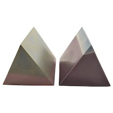 Pair of Small Modern Ceramic Prisms - Limited - Signed