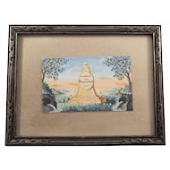 """Vintage Watercolor Painting of """"Monument of Memorial to Friendship"""""""