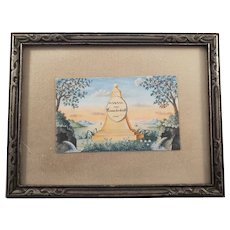 "Vintage Watercolor Painting of ""Monument of Memorial to Friendship"""
