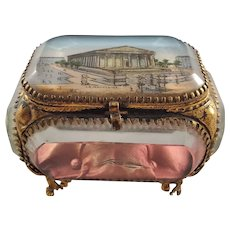 """French Handmade Small Display Case - Miniature """"La Medeleine"""" Painting"""