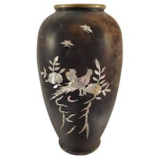 Japanese Mixed Metal Vase - Mother of Pear Inlay Design