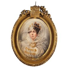 Antique Watercolor Painting of a European Princess - Signed 1828 - Ornate Wooden Vintage Frame