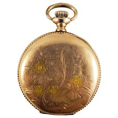 Waltham Pocket Watch - Colored Floral Design - 7j Movement (1903)