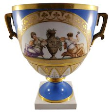 Vintage French Sevres Painted Porcelain Vase- Blue with Gilt accents - Inscribed