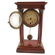Vintage Empire Style Mantle Clock - Cherry Wood