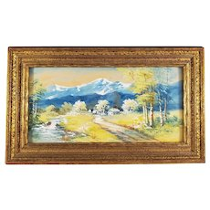 Watercolor Landscape Painting in an Ornate Gilt Frame - Signed