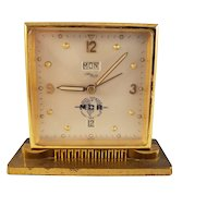 Vintage Imhof Swiss Brass Clock - Day/Date/Alarm - MCA edition (1956)