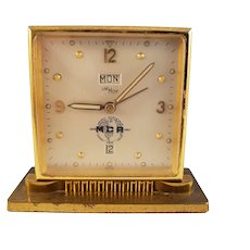 Vintage Imhof Swiss Brass Clock - Day/Date/Alarm - MCA edition (1956)