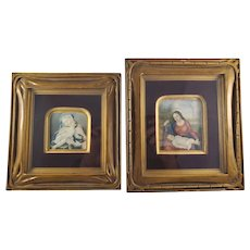 Pair of Miniature Italian Antique Watercolor Paintings - Jesus and Mary