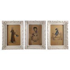 Set of 3 Italian Color-Prints of Children Illustration - Ornate White Frames