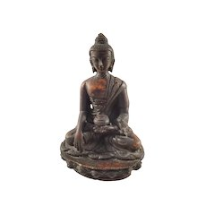 Vintage Seated Buddha Cast Statue - Dark Brown color