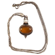 Vintage Amber & Pearl Necklace - Sterling Silver Casing and Chain