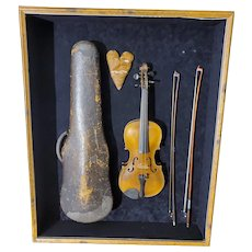 Antique Violin Set in a Custom Wooden Shadowbox Display