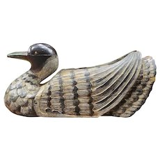 Large Stunning Asian Hand Carved Wooden Wild Duck Statue