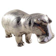 Unique Stunning Handmade Silverplated Hippo Figurine