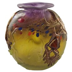 Unique Vintage Small Art Glass Vase - Inscribed