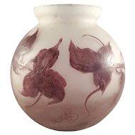 French Legras Cameo Art Glass - Signed
