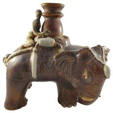 Vintage Chinese Porcelain Elephant Candlestick