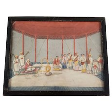 Vintage Indian Miniature Painting on Glass- Rajput Style Interior Scene