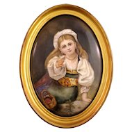 Gorgeous Antique KPM Plaque With A Girl Painting