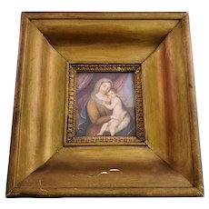 Gorgeous Antique Religious Painted Porcelain Plaque - Antique Wooden Frame