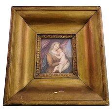 Gorgeous Antique Religious Painted Porcelain Plaque - Antique Wooden Frame