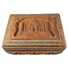 STUNNING Antique Indian Hand-Carved Wooden Trinket box with inlays - Taj Mahal Design