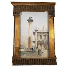 Antique French Water-Color Painting in an Ornate Wooden Frame - Signed