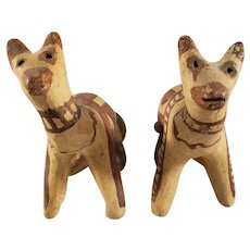 Antique Pair of Pre-Colombian Pottery Cat Figurines